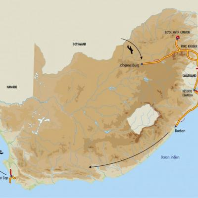 Itinéraire du voyage Du Kruger au Cap de Bonne Espérance - Afrique Du Sud - Tirawa