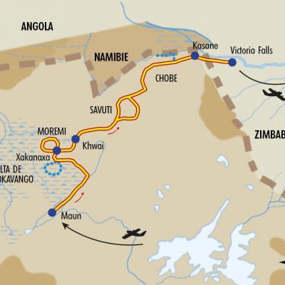 Itinéraire du voyage Du Delta de l'Okavango aux Chutes Victoria - Botswana - Tirawa