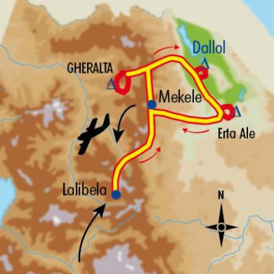 Itinéraire du voyage Lalibela, Tigray et Erta Ale - Éthiopie - Tirawa