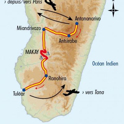 Itinéraire du voyage Exploration dans le Makay - Madagascar - Tirawa