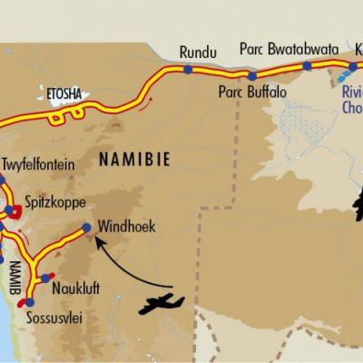 Itinéraire du voyage Du Namib aux Chutes Victoria - Namibie - Tirawa