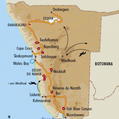 Itinéraire du voyage Grande Traversée de la Namibie du Nord au Sud - Namibie - Tirawa