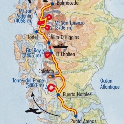 Itinéraire du voyage Grands Treks en Patagonie - Argentine - Tirawa