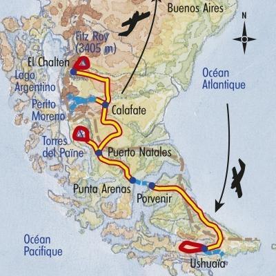 Itinéraire du voyage Balade en Patagonie - Argentine - Tirawa