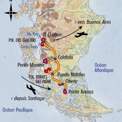Itinéraire du voyage Des Tours du Paine au Fitz Roy - Argentine - Tirawa