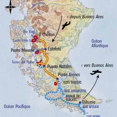 Itinéraire du voyage Croisière au Cap Horn et Patagonie - Argentine - Tirawa