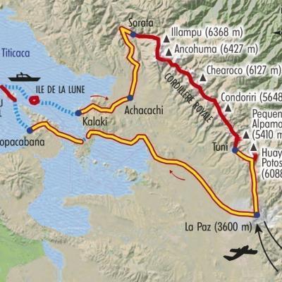 Itinéraire du voyage Grande Traversée de la Cordillère Royale - Bolivie - Tirawa