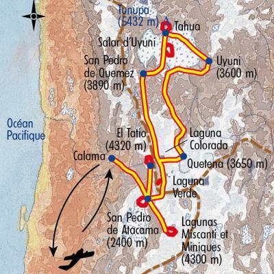 Itinéraire du voyage Désert et Salars - Chili - Tirawa