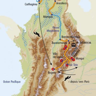 Itinéraire du voyage De Bogota à Carthagène - Colombie - Tirawa