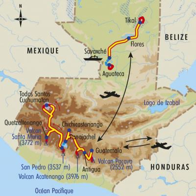 Itinéraire du voyage Volcans de Feu et splendeurs Mayas - Guatemala - Tirawa