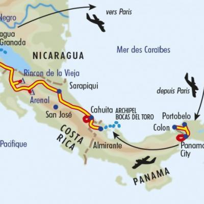 Itinéraire du voyage Grande Traversée d'Amérique Centrale - Panama - Tirawa
