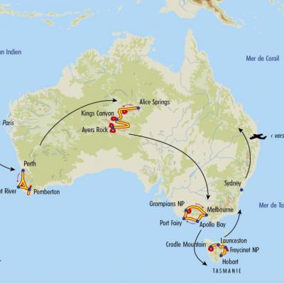 Itinéraire du voyage Grand Tour de l'Australie - Australie - Tirawa