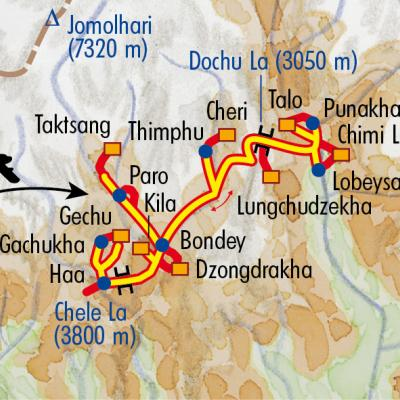 Itinéraire du voyage Sentiers du Bhoutan - Bhoutan - Tirawa