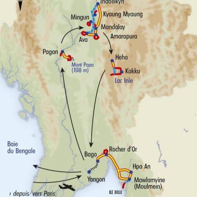 Itinéraire du voyage Grand Tour de la Birmanie - Birmanie - Tirawa