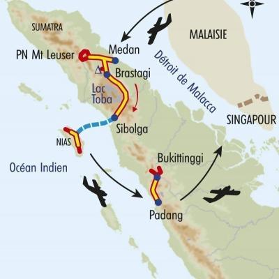 Itinéraire du voyage Trésors de Sumatra - Indonésie - Tirawa