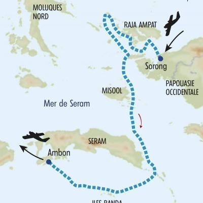 Itinéraire du voyage Croisière des Raja Ampat aux Moluques - Indonésie - Tirawa