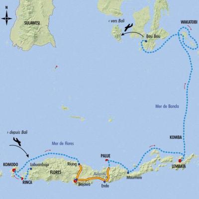 Itinéraire du voyage Croisière de Komodo à Wakatobi - Indonésie - Tirawa