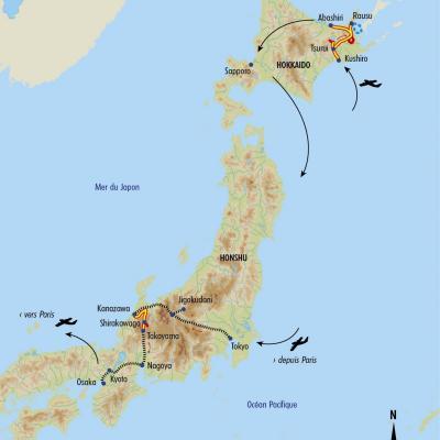 Itinéraire du voyage Charmes du Japon en Hiver - Japon - Tirawa