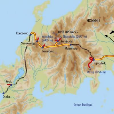 Itinéraire du voyage Alpes Japonaises et Mont Fuji - Japon - Tirawa