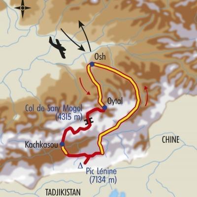 Itinéraire du voyage Au Coeur du Pamir - Kirghizie - Tirawa
