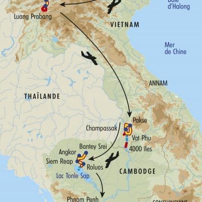 Itinéraire du voyage Grande Traversée de l'Indochine - Laos - Tirawa