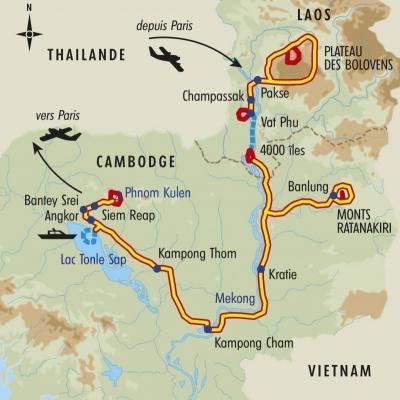 Itinéraire du voyage Terres du Mékong - Laos - Tirawa