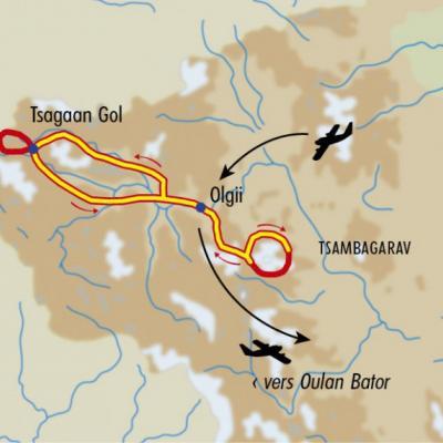Itinéraire du voyage Treks dans l'Altaï mongol - Mongolie - Tirawa