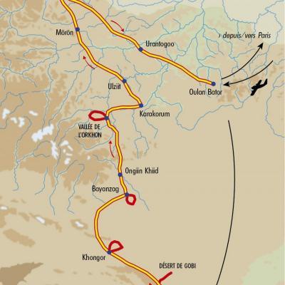 Itinéraire du voyage Grande traversée de la Mongolie - Mongolie - Tirawa