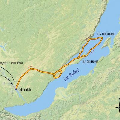 Itinéraire du voyage Aventures sur le lac Baïkal gelé - Russie - Tirawa