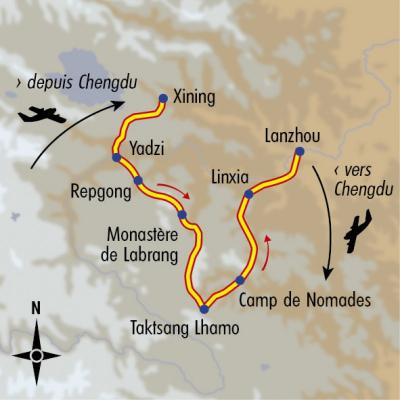Itinéraire du voyage Chemins secrets de l'Amdo - Tibet - Tirawa