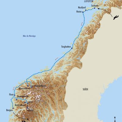 Itinéraire du voyage Croisière des Lofoten à Bergen - Norvège - Tirawa