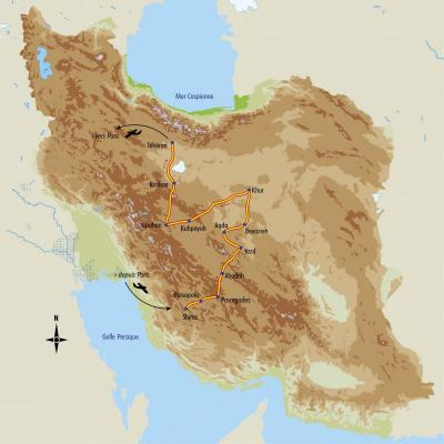 Itinéraire du voyage Charmes persans - Iran - Tirawa