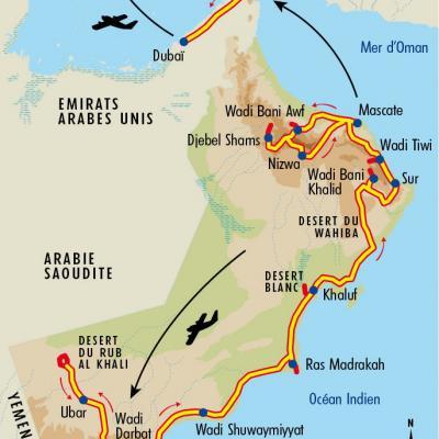 Itinéraire du voyage La Grande Traversée d'Oman - Oman - Tirawa