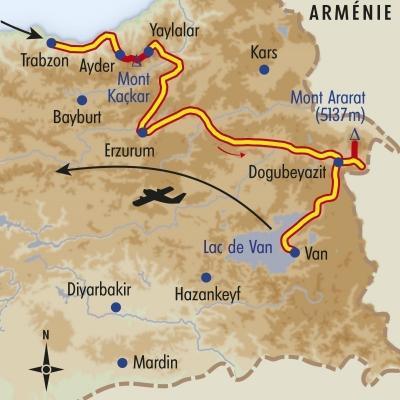 Itinéraire du voyage Kaçkar et Ararat - Turquie - Tirawa
