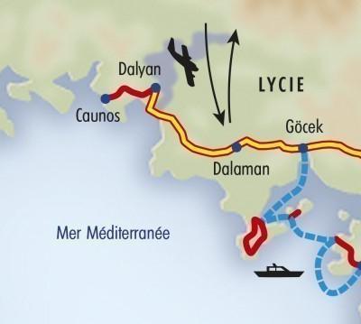 Itinéraire du voyage Balade et Croisière en Lycie - Turquie - Tirawa