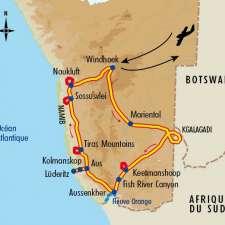 Itinéraire du voyage Kalahari, Fish River et Namib - Namibie - Tirawa