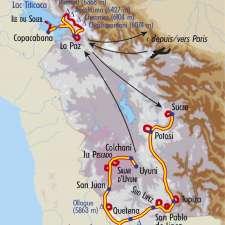 Itinéraire du voyage Du Sud Lipez à la Cordillère Royale - Bolivie - Tirawa