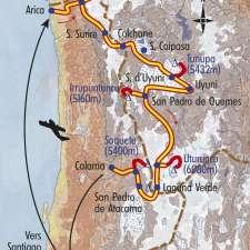 Itinéraire du voyage De Salars en Volcans - Chili - Tirawa