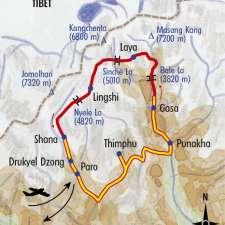 Itinéraire du voyage De Laya au Jomolhari - Bhoutan - Tirawa