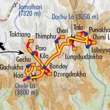 Itinéraire du voyage Randos Bhoutanaises - Bhoutan - Tirawa