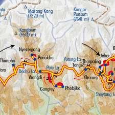 Itinéraire du voyage Festivals de Printemps avec Robert Dompnier - Bhoutan - Tirawa
