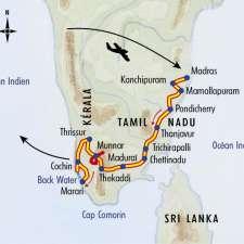 Itinéraire du voyage Grande traversée de l'Inde du Sud - Inde - Tirawa