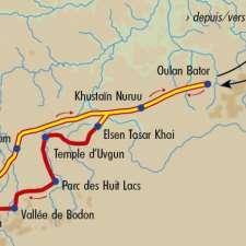 Itinéraire du voyage Immersion chez les Mongols - Mongolie - Tirawa