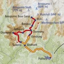 Itinéraire du voyage Sanctuaire des Annapurnas - Népal - Tirawa