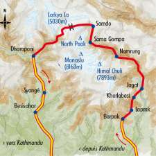 Itinéraire du voyage Tour du Manaslu - Népal - Tirawa