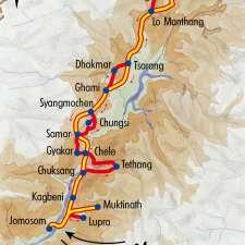 Itinéraire du voyage Mustang avec Robert Dompnier - Népal - Tirawa