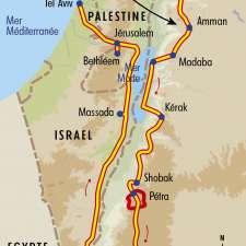 Itinéraire du voyage De Pétra à Jérusalem - Jordanie - Tirawa