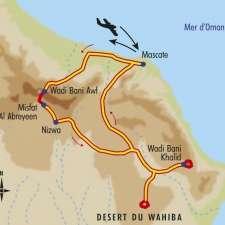 Itinéraire du voyage Montagnes, Dunes et Canyon - Oman - Tirawa