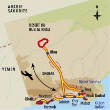 Itinéraire du voyage Dhofar, du Désert du Rub al Khali à l'Océan Indien - Oman - Tirawa