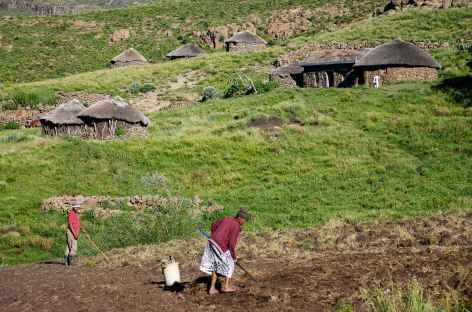 Village basotho, montagnes de Maloti - Lesotho -